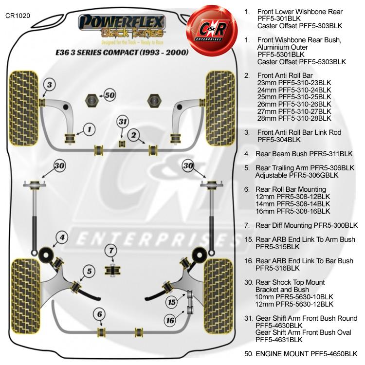 fits BMW E36 3 SERIES COMPACT PFF5-304BLK POWERFLEX BLACK ARB LINK ROD BUSH