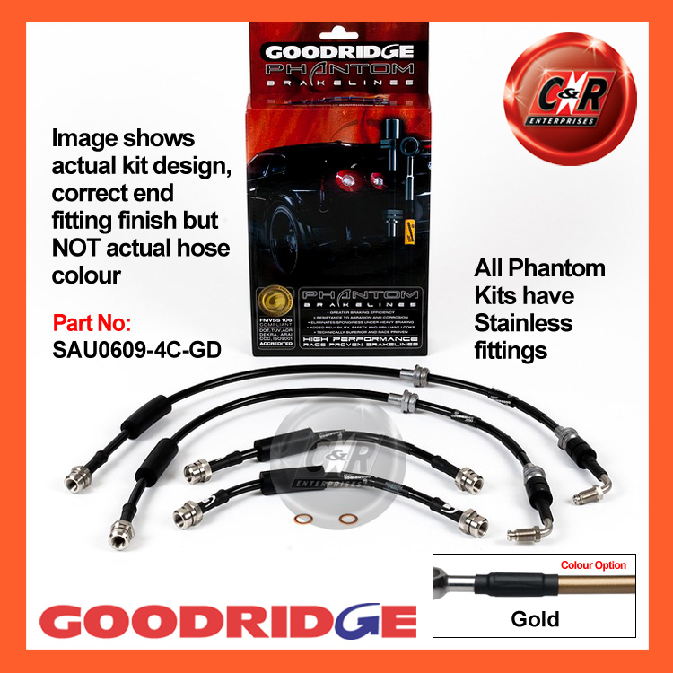 Audi TT RS 2.5 2009 Goodridge Stainless Black Brake Hoses SAU0609-4C