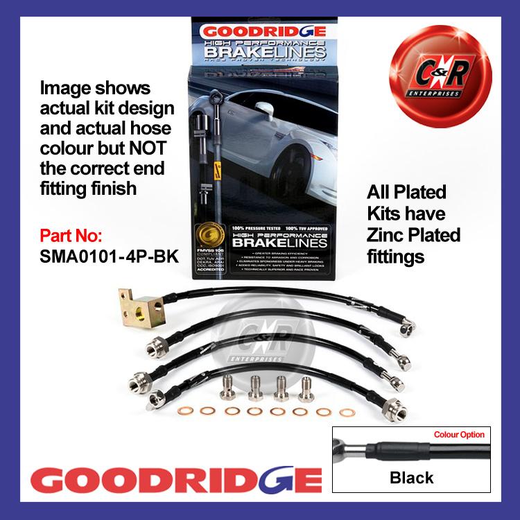 Mazda MX5 Mk2 01//01-11//05 Goodridge Stainless Black Brake Hoses SMA0101-4C