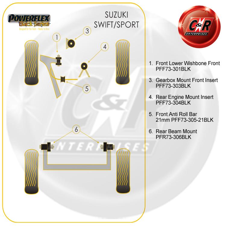 SUZUKI SWIFT SPORT 07 PFF73-301BLK POWERFLEX BLACK Fr LOWER WISHBONE Fr BUSH