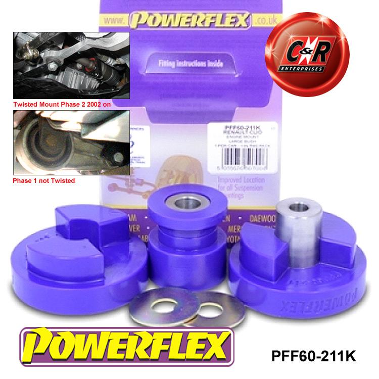 Powerflex Black Dog Bone Twisted Engine Mount Bush PFF60-211KBLK For Clio 2