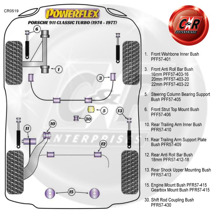 Powerflex Motore//Cambio Kit Di Montaggio Bush PORSCHE 911 Classic 1967-1969